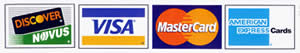 All Major Credit Cards Accepted - Visa, Master Card, American Express, Discover